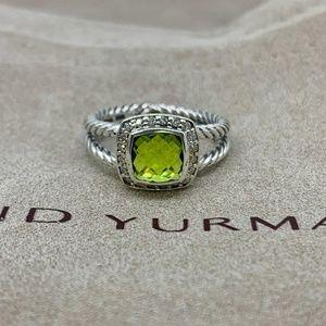 David Yurman Petite Albion Ring Peridot & Diamonds